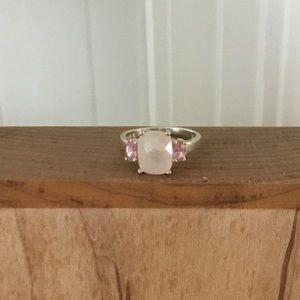 Avon 925 Rose Quartz Ring w/Pink CZ